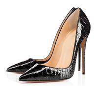 Marka Kadınlar Siyah Koyun Çıplak Patent Deri Poined Burun Kadınlar Pompalar, Moda Kırmızı Alt Yüksek Topuklu Ayakkabı Kadınlar Için Elbise Düğün Ayakkabı