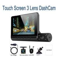 سيارة DVR 3 عدسة الكاميرا Dashcam 1080P HD 4 بوصة تعمل باللمس سيارة مسجل فيديو الجبهة للرؤية الخلفية 24H عكس مراقبة وقوف السيارات النسخ الاحتياطي