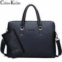 Celinv Koilm Men Leather Briefcase Bag Business Famous Brand Shoulder Messenger Bags Office Handbag 14 inch Laptop High Quality Q1127