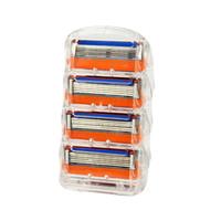 4шт / комплект бритвы лезвия для мужчин уход за лицом 5 слоев бритья кассета из нержавеющей стали лезвия безопасности костюм 0409