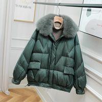 Fitaylor зимний меховой воротник шерсть короткая куртка женщины 90% белый утка вниз свободное пальто женское толстое паркер теплый снег