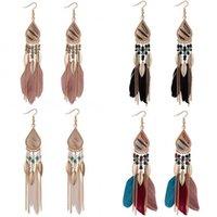 Bohemia Feather Earring for Women Fashion Jewelry Beads Tassel Dangle Long Earrings Dream Catcher Drop Earrings 20 J2