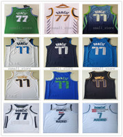 Genähte Männer Kinder Jugend 2021 Stadt Weiß Doncic 77 Luka Jerseys Basketball Blue Navy College 7 Doncic NCAA Shirts Gestikulieren Schneller Versand