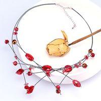 Fashion Austria multi shape crystal glass imported steel wire women's NECKLACE BRIDAL romantic jewelry elegant women's gift N010