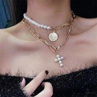 Искусственная жемчужина цепи шеи многоэтажные монетные подвески крестные ожерелья ожерелья леди мода ожерелья горячие продажи 4 5yh p2