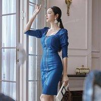 Весна высокого качества сексуальная молния джинсовая карандаш платье женщины мода высокая талия без спинки тонкий корпус министидос