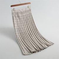 Sherhure Women Autumn Skirts High Waist Knitting Women Long Skirt Saias Women Pencil Skirt Jupe Femme Faldas T200106