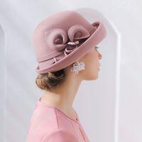 Frau Herbst- und Winterparty formale Hut England Mode Elegangant unregelmäßige 100% Wollfilzhüte