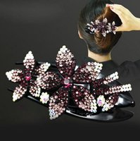 2021 Colorful Rhinestone Double Flower Hairpin Dovetail Clip...