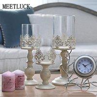 Vintage Valentinstag Wohnkultur Romantische Hochzeitsdekoration Weiße Kerzenhalter Hohe Glas Kerzenständer Metallhandwerk LJ201018