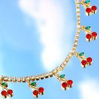 Роскошная Bynouck Новая красная вишневая хрустальная теннисная цепь женская ожерелье очарование милые кулон ожерелья женщин горный хрусталь ювелирных изделий подарок C3JZ