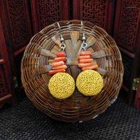 Boeycjr Pendientes de gota de piedra de lava colorida hecha a mano Pendientes de gancho de la joyería Hecho a mano Cuelga para las mujeres Arete Oorbel1