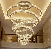 Lampadario moderno di lusso illuminazione grande lampada per scale LED lampada di cristallo Lampada a domicilio