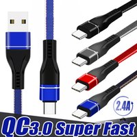 2.4a Superfast Charging Tipo C Micro USB Cable Data Cable Caricabatterie veloce per telefoni cellulari Noodles Dual Color Design