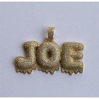 Hip Hop Jewelry Iced Out Nombre personalizado Goteo blanco Cadena Collares Cadena PENDA WMTRFQ enteros2019