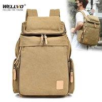Backpack Wellvo Top Quality Lona grande capacidade de viagem mochilas de viagem homens bolsa casual balde sacos para xa25zc1