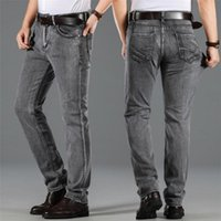 2020 Men Business Casual Stretch Jeans Washed Straight Jeans...