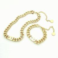 Мода Нержавеющая сталь D Письмо 14k Золотая кубинская ссылка цепи ожерелье браслет для мужчин и женщин Любители вечеринки подарок Hip Hop ювелирные изделия