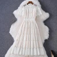 2020 летнее с коротким рукавом круглые шеи белый чистый цвет кружева вышивка панель середины теленка платье элегантные повседневные платья MQ3089800