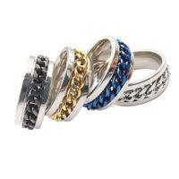 50 unids / lote anillos de cadena giratoria de estilo punk titanio de acero inoxidable de acero inoxidable enlace de hilanners ocasional anillos fraternales moda joyería fresca