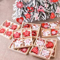 12pcs Natale decorazioni in legno per l'albero domestico fai da te legno naturale legno ornamenti ornamenti pendenti a sospensione regalo natale natale decor w-00498