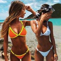 Push Up Bikini 2020 Sexy Swimsuit Swimwear Female Solid Thong Brazilian Mini Micro Bikini Set Biquini Bathing Suit Women Y1120