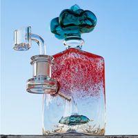 Benzersiz Cam Bongs 7 Inç DAB Petrol Kulesi Duş Başlığı Perc Dikdörtgen Vücut 14mm Ortak Su Borusu Pürüzsüz Borular Renkli Başlık Bulut Banger