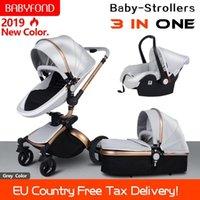 BabyFond 3 en 1 Cochecito de lujo recién nacido Bebé plegable de cuatro direcciones de cuatro vías de cuero de cuero de cuero de aluminio marco plegable bebé CAR1