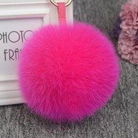 11cm Luxo Fofo Fufo Fur Ball Pompom 12 Cores Genuíno Pele Keychain Metal Anel Anel Pingente Saco de Saco FO-K045-Rose1