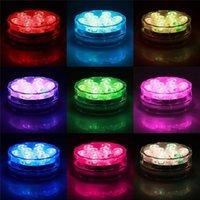 Luz inmersible a prueba de agua LED 10-LED RGB RGB Lámpara de decoración de alto brillo de color subacuático cambiando las luces AA batería con control remoto