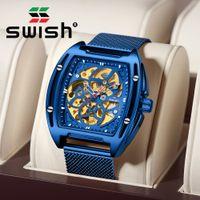 S uomo orologio meccanico orologio blu orologio automatico con braccialetto a rete di lusso sport impermeabile skeleton tourbillon orologio da polso 2020 y1214