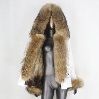 Bluenessfair Parka impermeável Jaqueta de inverno Mulheres REAL Raposa Casaco de Pele Natural Raccoon Outerwear Stupwear Destacável Novo T200911