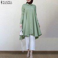 Blouses Femmes Chemises Kaftan Solid Islam Vêtements Chemiseur d'automne Femme Zanzea 2021 Casual manches longues robe turque femme Asymmetri