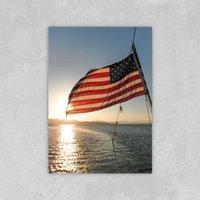 Lona Pintura Arte de la pared Bandera americana Retroiluminación por la puesta de sol Pintura al óleo para el sofá Decoración de la pared Sin marco 24x36 pulgada