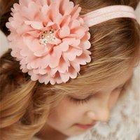 Lindas Colores Recién Nacido Bebé Diademas Big Flower Rhinestone Hairbands Niños Niños Accesorios para el cabello Tocado Bandas de la cabeza del arco de la gasa