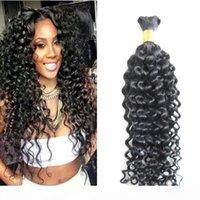 10-30 pollici Afro Kinky Curly Human Treiding Hair Bulk Nessuna trama 1 pz 100g Nero naturale Nero senza trama Bulk umano per capelli umani Bra Bra Bundles