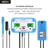 Online PH / EC / TEMP تستر متر جودة المياه كاشف الحموضة تحكم التتابع المكونات REALEALE ELECTRODE BNC نوع التحقيق الولايات المتحدة EU Plug1