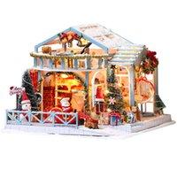 CuteBee DIY Casa de Boneca De Madeira Casas Miniature Dollhouse Kit de móveis com brinquedos LED para crianças Presente de Natal LJ201126