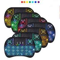 New Keyboard I8 Mini Mini Ratón inalámbrico 2.4G Touchpad de mano Touchpad recargable Batería Mosca Mouse Mouse Control remoto con 7 colores de fondo
