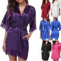 Womens 섹시한 일반 실크 새틴 레이스 슬림 부드러운 roves 목욕 잠옷 이국적인 드레스 세트