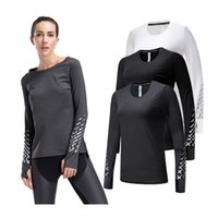 Kacigeya Fitness Kadın Spor Giyim Tops Tam Kollu T Gömlek Hızlı Kuru Spor Yoga Kadın Giyim Giyim Koşu Koşu Gömlek T200605