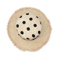 Marque Design Organza Dot Polka Print UV Sun Protection Chapeaux Pour Femmes Capuchons De Mariage Filles Filles Raffia Summer Beach Hat Y200714