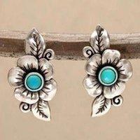 Bohemian Foglia Rosa Fiore Orecchini per monili delle donne etnici d'argento antichi colori turchesi Stone Orecchino d'epoca