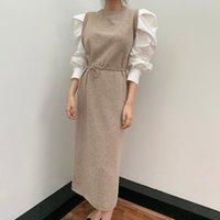 Dunayskiy 2021 Nuevo otoño mujeres vintage suelta la cintura alta delgada era delgada elegante y elegante color linterna manga maxi vestido