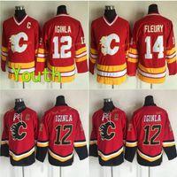 Juventud Vintage Calgary llamas hockey jersey 12 jarome iginla 14 teoren fleury vintage vintage ccm hogar rojo niños cosido jersey c parche