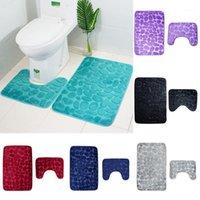 Badematten 2 teile / satz Trichter Kopfsteinpflaster Badezimmer Anti-Rutsch-Teppich-Matte Toilette Teppich 1