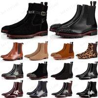 Nuevo estilo fondos rojos zapatillas de deporte para hombres para hombres picos de gamuza de cuero suela roja zapatos de hombre súper perfecto Melón Motocicleta Bota de tobillo para hombres