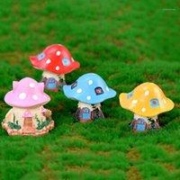 Oggetti decorativi figurine 5 pz carino cartone animato fungo casa fai da te resina fata giardino artigianato decorazione in miniature gnomi muschio terrari artigianato