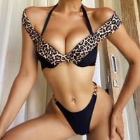 Playa de verano mujeres traje de baño moda leopardo impreso bikini conjunto sexy backless vendaje dama traje de baño para fiesta