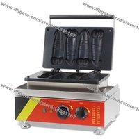 무료 배송 상업용 비 스틱 110V 220V 전기 4pcs 핫도그 피네 와플 개 메이커 철 기계 베이커
